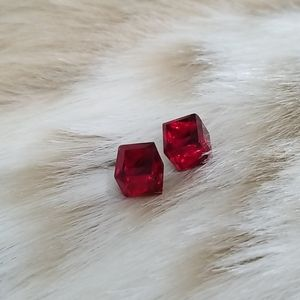 Shimmering Faceted Red Cube Earrings